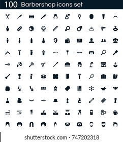 Barbershop icon set with 100 vector pictograms. Simple filled beauty icons isolated on a white background. Good for apps and web sites.