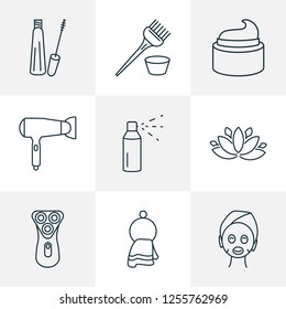 Barbershop icons line style set with cream, hairdryer, mascara and other washcloth elements. Isolated vector illustration barbershop icons.