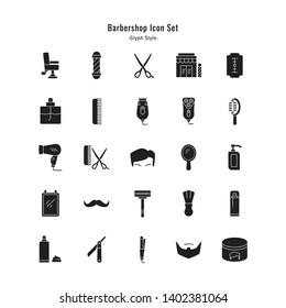 barbershop icons vector barbershop icon set. glyph style icon