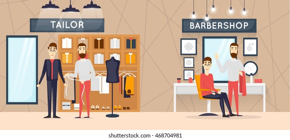 Barbershop interior, stylish hair salon or barber shop. Hairdresser and customer. Cutting, styling, washing, hair dryer. Clothing store of men's cloths fashion. Flat design vector illustrations.
