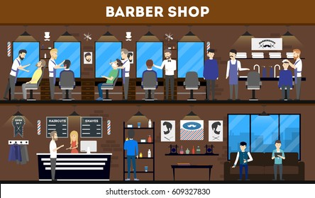 Barbershop interior, stylish hair salon or barber shop. Hairdresser and customer. Cutting styling washing, hair dryer.