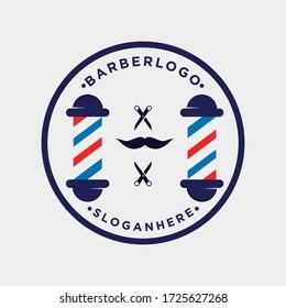 barbershop logo design. barber haircut vector scissors icon logo design