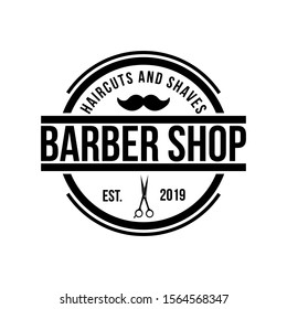 Barbershop logo design template vector