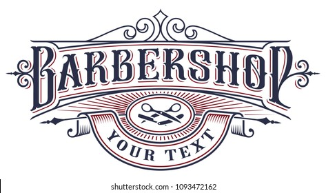 Barbershop logo design. Vintage lettering illustration on the white background. All objects, text are on the separate groups.