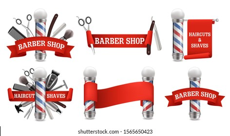 Barbershop logo, label, emblem set, vector realistic illustration isolated on white background. Haircut and shaves, beard grooming.