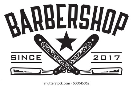 Barbershop Logo Vector design barbershop emblem with crossed straight razors.