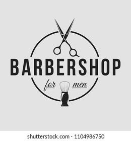 Barbershop logo. Vintage set barber logo with razor, shaver, scissors, hair, haircut, mustache and beard. Gentleman club, Barbershop allience logos.