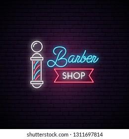 Barbershop neon sign. Retro Hairdressing Emblem. Advertising light banner. Vector illustration in neon style.