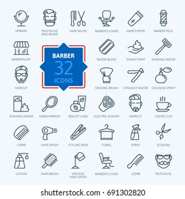 Barbershop - outline web icon set. Thin line icons collection