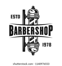 Barbershop pole emblem, label, badge or logo in monochrome vintage style isolated on white background