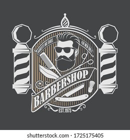 Barbershop poster, banner template design with Bearded men and barber pole. Vector illustration