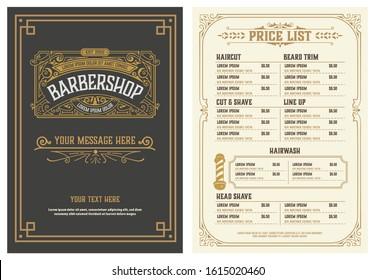 Barbershop Price List Flyer. Vector Layered