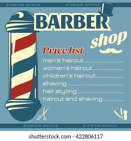 Barbershop price list template with big pole at left hairdresser accessories mustache on blue background vector illustration
