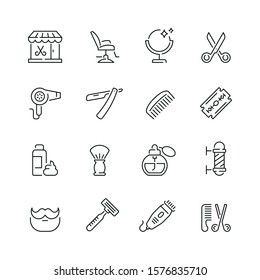Barbershop related icons: thin vector icon set, black and white kit