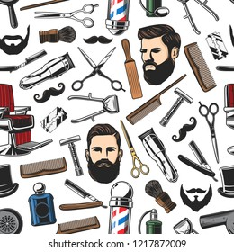 Barbershop salon items and man haircut, beard shaves pattern background. Vector seamless pattern of barber shop pole, scissors or trimmer and brush with razor, mustaches and comb