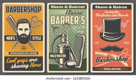 Barbershop salon, shaving, cutting and trimming service. Vector bearded man portrait, crossed brush and scissors, retro cologne perfumes. Shave and haircut, vintage hat and mustaches, men styling shop