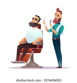 Barbershop service concept cartoon characters. Vector illustration.