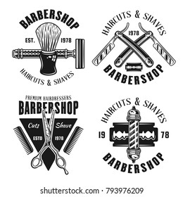Barbershop set of four emblems in monochrome style vector illustration isolated on white background