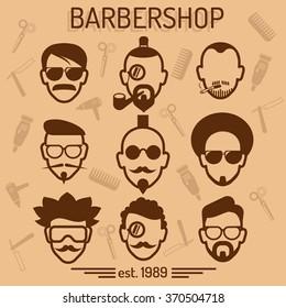 Barbershop. Set hairstyles.