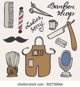 Barbershop set. Hand-drawn cartoon hairdressing stuff. Doodle drawing. Vector illustration.