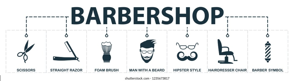 Barbershop set icons collection. Includes simple elements such as scissors, straight razor, foam brush, hairdresser chair, hipster style, a symbol of a barber premium icons