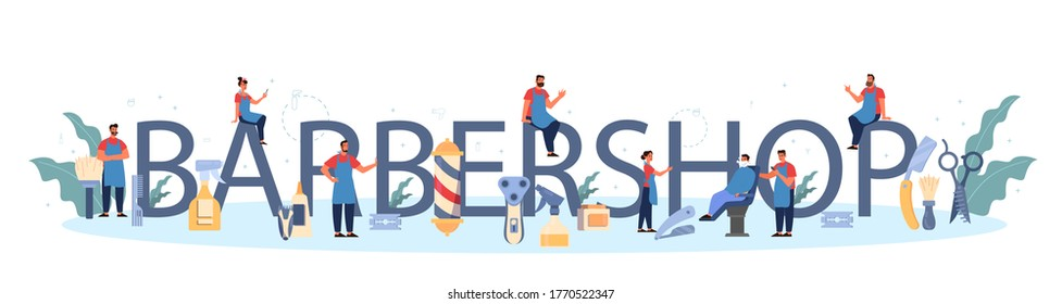Barbershop typographic header concept. Idea of hair and beard care. Scissors and brush, shampoo and haircut process. Hair treatment and styling. Isolated flat illustration