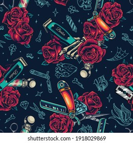 Barbershop vintage colorful seamless pattern with scissors roses barber poles diamonds straight razors skeleton hand holding hair clipper vector illustration