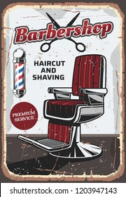 Barbershop vintage poster, chair for hairstyling and scissors. Great hairdressing salon, male haircut and beard styling or shaving service, retro armchair, vector