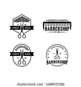 barbershop vintage set logo design template vector