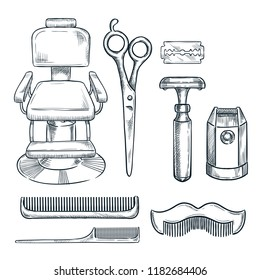 Barbershop vintage tools and equipment vector sketch illustration. Hand drawn icons and design elements for mens barber shop or salon.