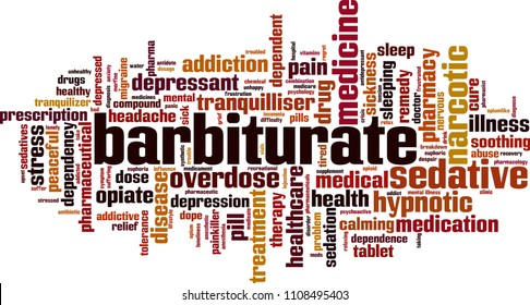Barbiturate word cloud concept. Vector illustration