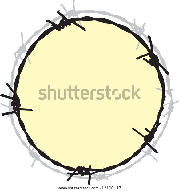 Barbwire in circle frame
