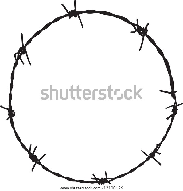 Barbwire in circle frame