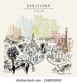 Barcelona, Catalonia, Spain. Park Guell and panoramic view of Barcelona city. Spanish travel sketch. Hand drawing. Vintage hand drawn Barcelona postcard. Vector illustration