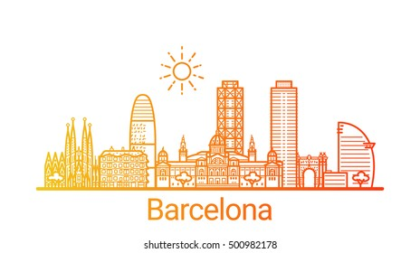 Barcelona city colored gradient line. All Barcelona buildings - customizable objects with opacity mask, so you can simple change composition and background fill. Line art.