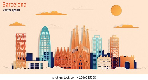 Barcelona city colorful paper cut style, vector stock illustration. Cityscape with all famous buildings. Skyline Barcelona city composition for design
