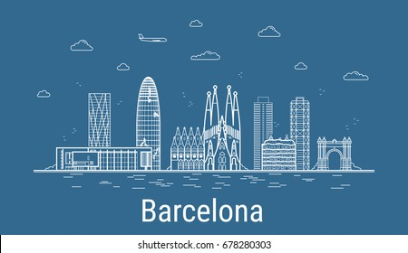 Barcelona city, Line Art Vector illustration with all famous towers. Linear Banner with Showplace. Composition of Modern buildings, Cityscape. Barcelona buildings set