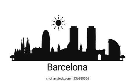 Barcelona city outline skyline. All Barcelona buildings - customizable objects, so you can simple change skyline composition. Minimal design.