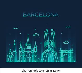 Barcelona City skyline detailed silhouette. Trendy vector illustration, line art style.