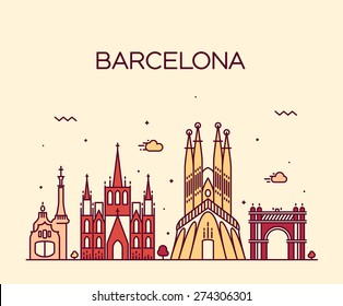 Barcelona City skyline detailed silhouette. Trendy vector illustration, line art style.