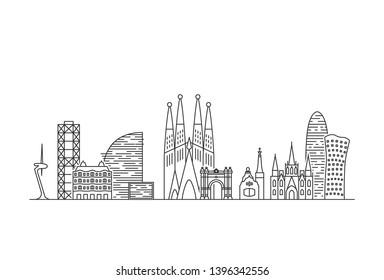 Barcelona city skyline. Line art style illustration