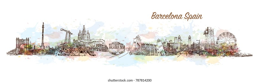 Barcelona City Skyline. Watercolor splash with sketch in vector illustration.