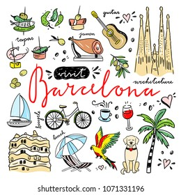 Barcelona cute icons set. Visit Spain and Catalonia hand drawn illustrations. Travel drawings for Barcelona city