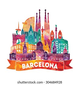 Barcelona detailed silhouette. Vector illustration