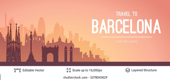 Barcelona famous city scape. Flat well known silhouettes. Vector illustration easy to edit for flyers or web banners.