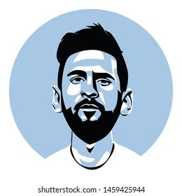 barcelona fc and argentina national football player, lionel messi vector sketch illustration, isolated style