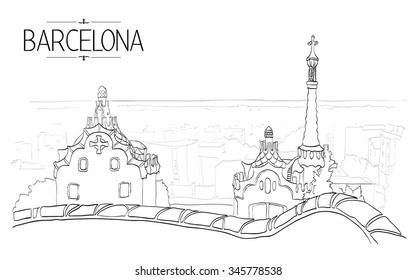 Barcelona Gaudi park illustration. Vintage illustration, hand drawn, sketch