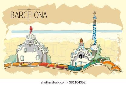 Barcelona Gaudi park illustration. Vintage illustration, hand drawn, orange colored sketch