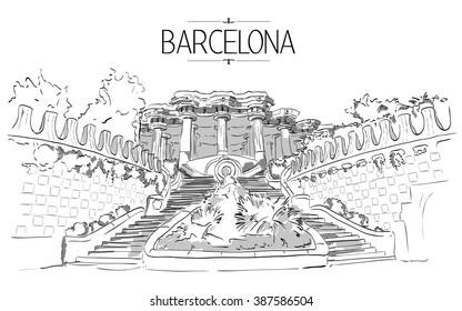 Barcelona Gaudi park illustration. Vintage illustration, hand drawn, colored sketch