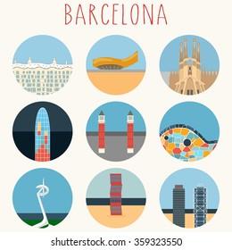 Barcelona landmarks & town symbols - Icons Set - Vector EPS10